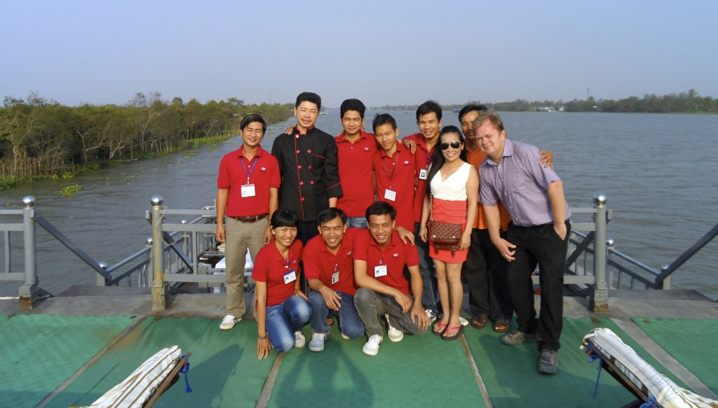 Being a tour leader in the Mekong Delta.