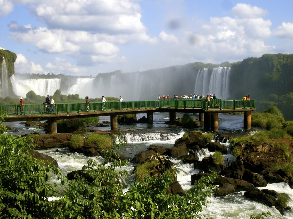 Tour leading at the Iguacu falls.