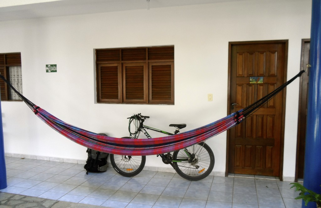 My bicycle in front of a pousada.