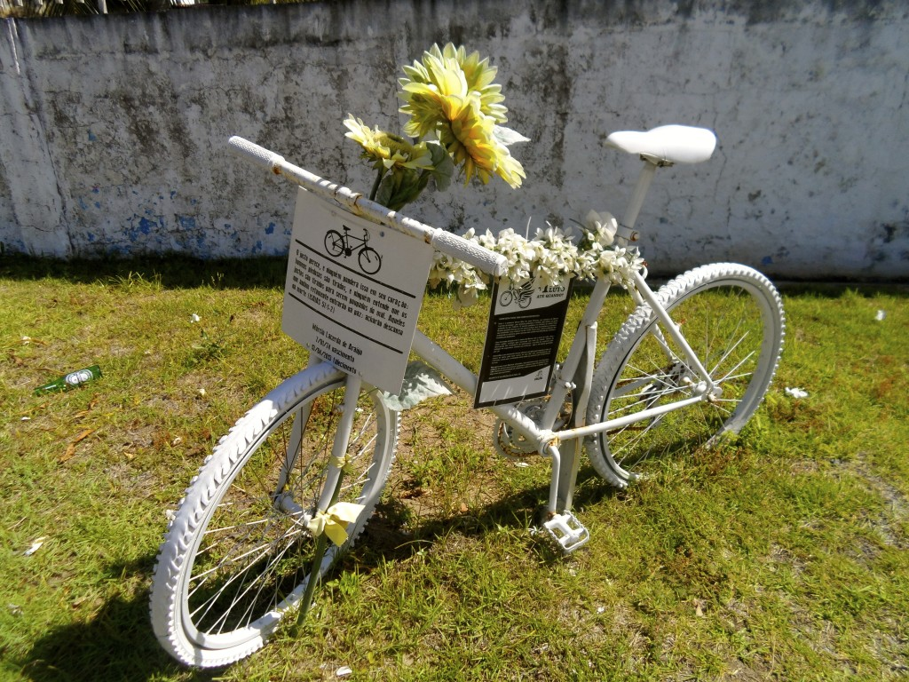 Monument for a dead cyclist in Joao Pessoa.