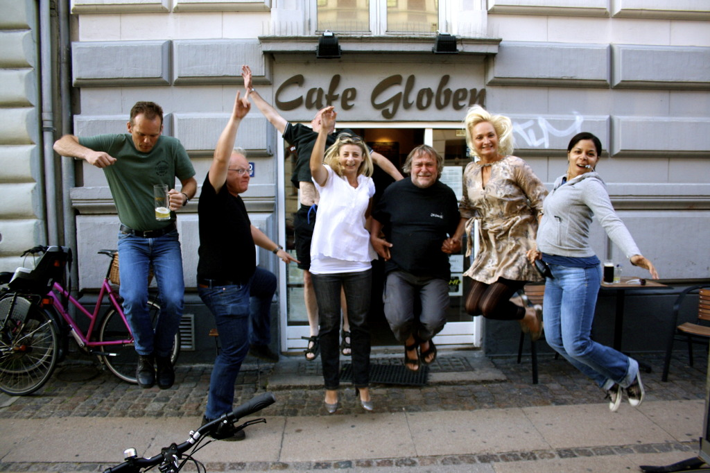 Jumping with joy at Cafe Globen.