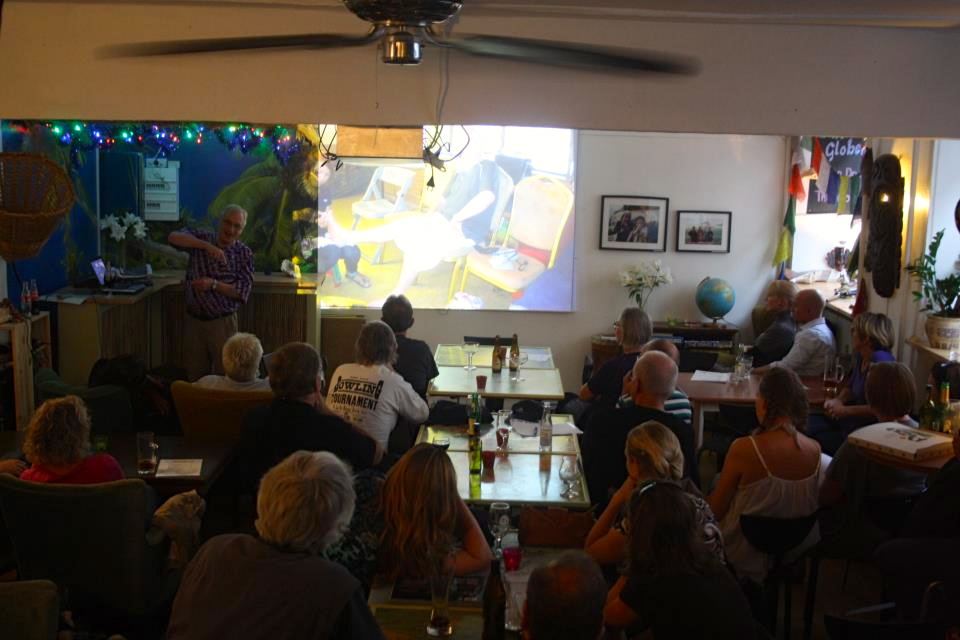 Arne Runge at Cafe Globen talking about his latest adventures.