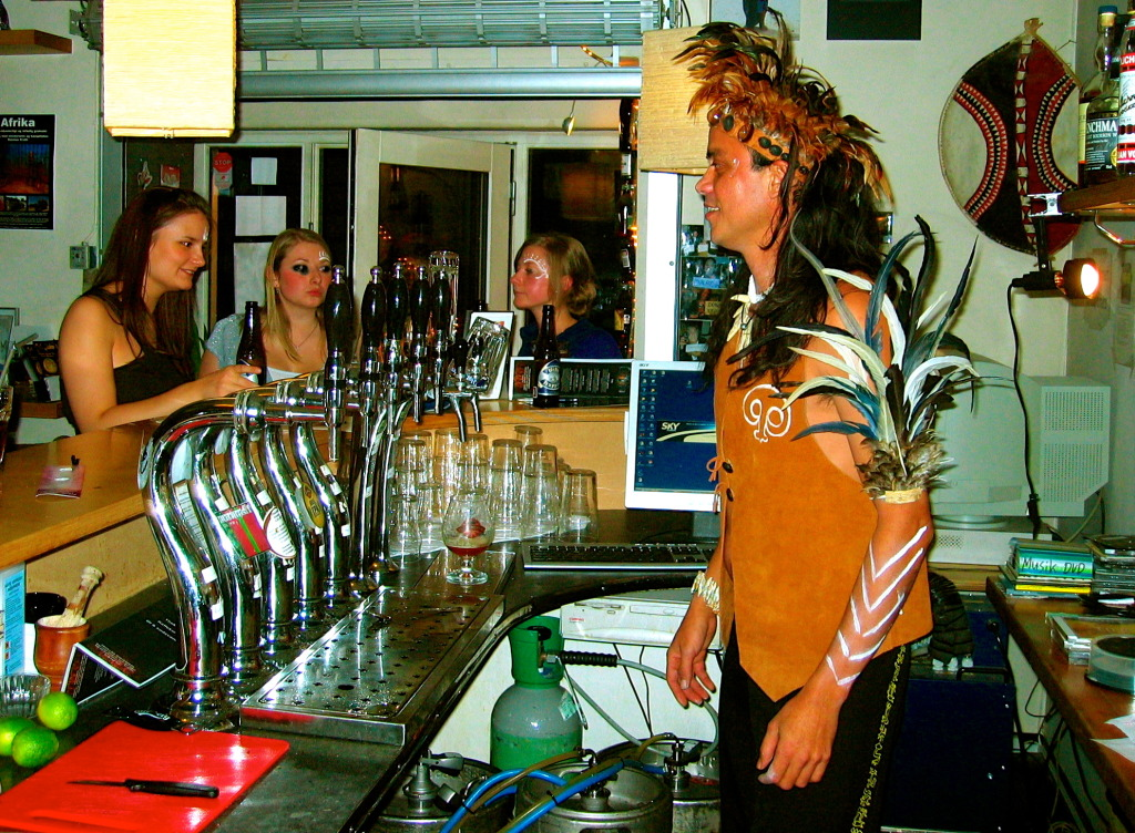 Guest bartender from Easter Island at Cafe Globen.