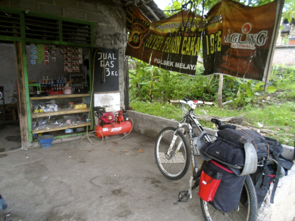 At the bicycle mechanic in Bali.