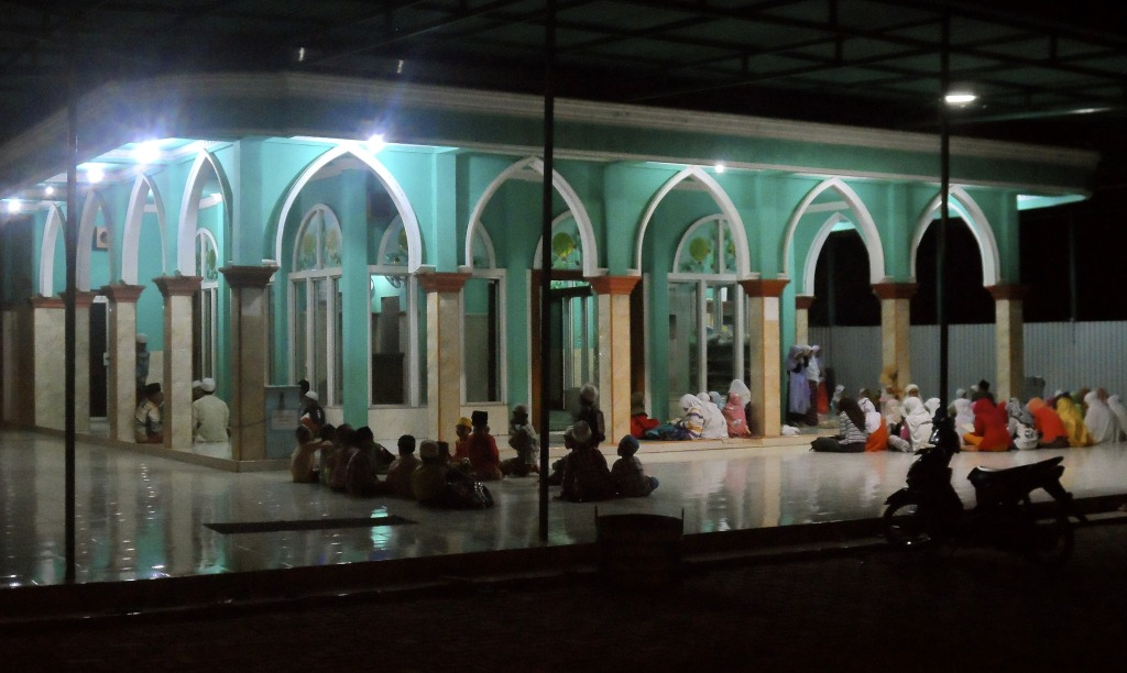 Indonesian mosque at night.