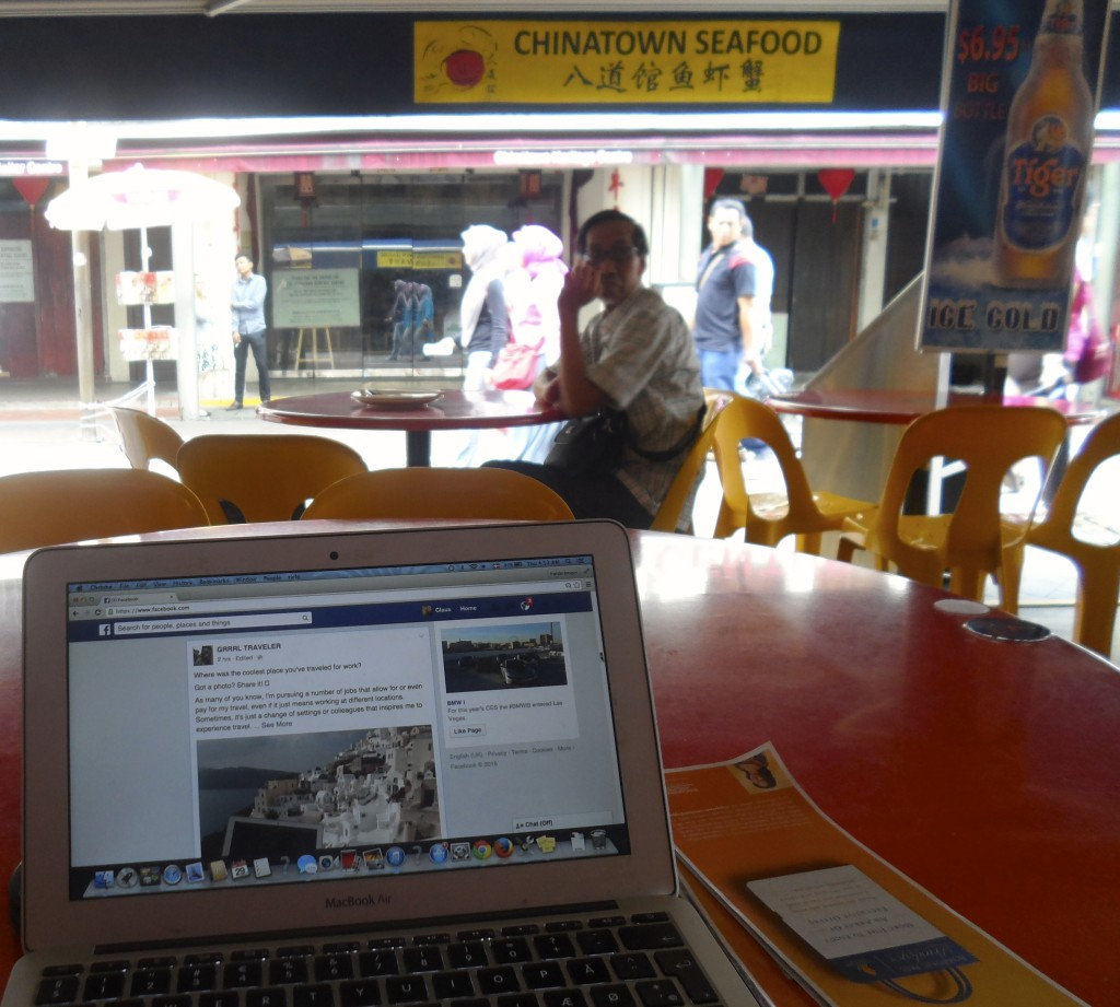 "My ""office"" in a Singapore cafe."