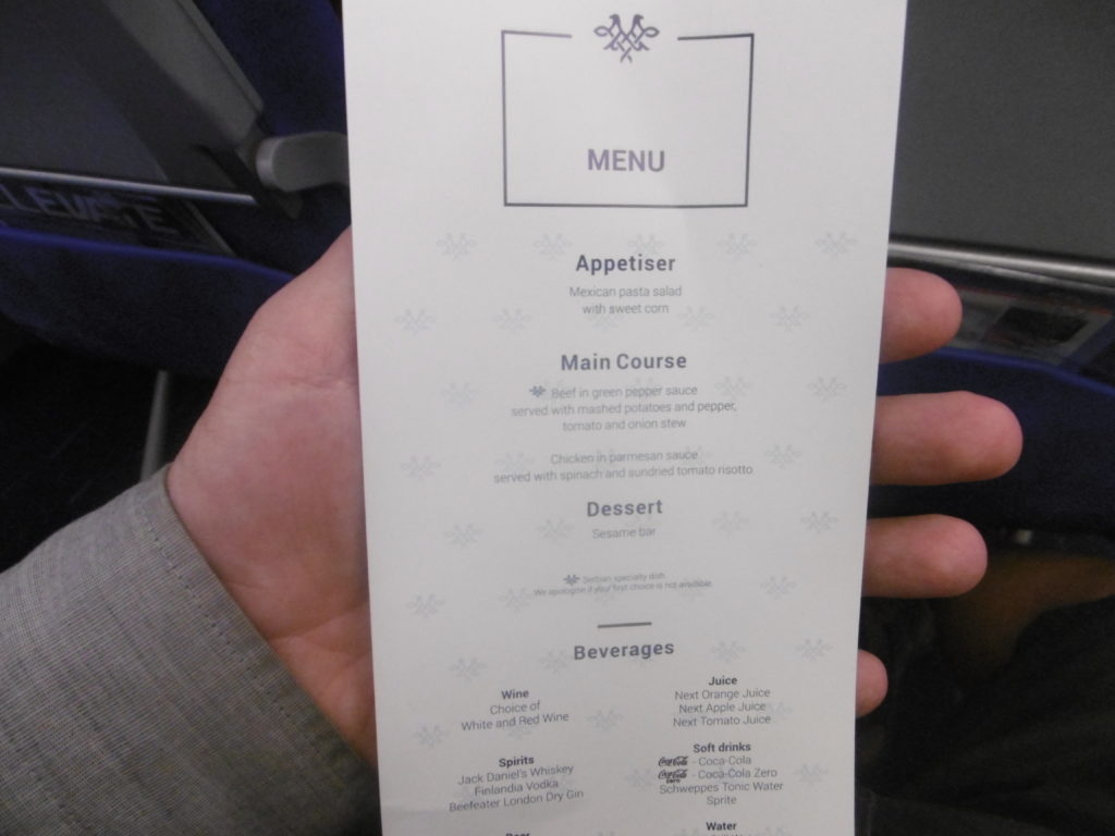 The menu on economy class, when flying with Air Serbia.
