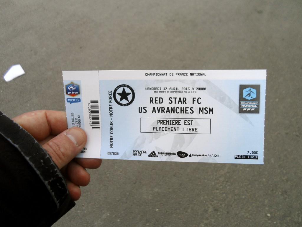 My ticket for the Red Star Paris game.