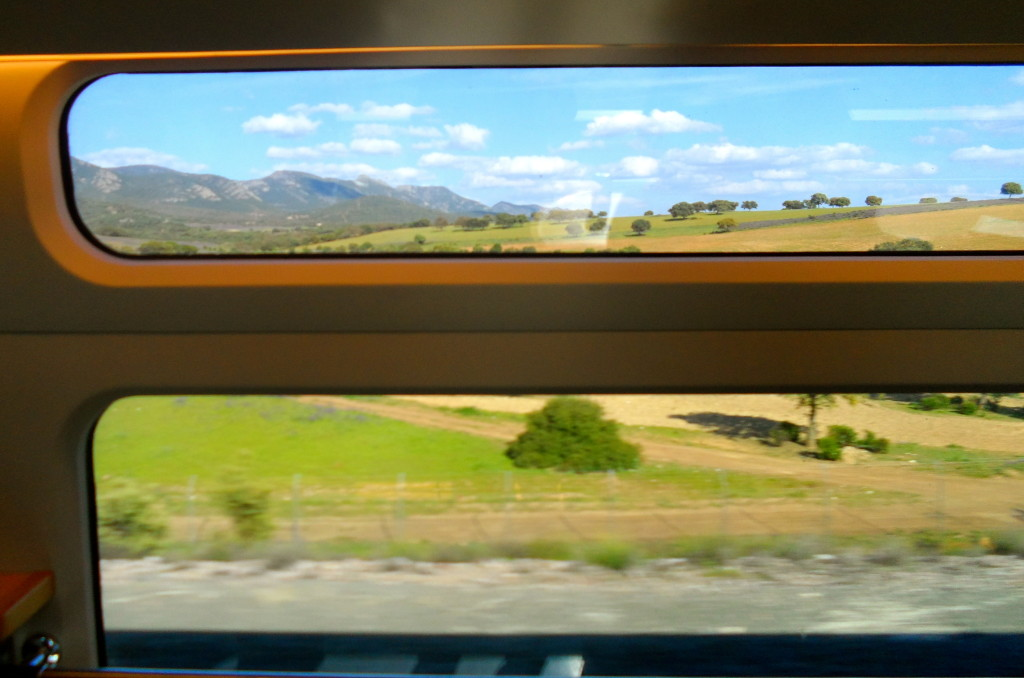 Looking at rural Spain through the train window.