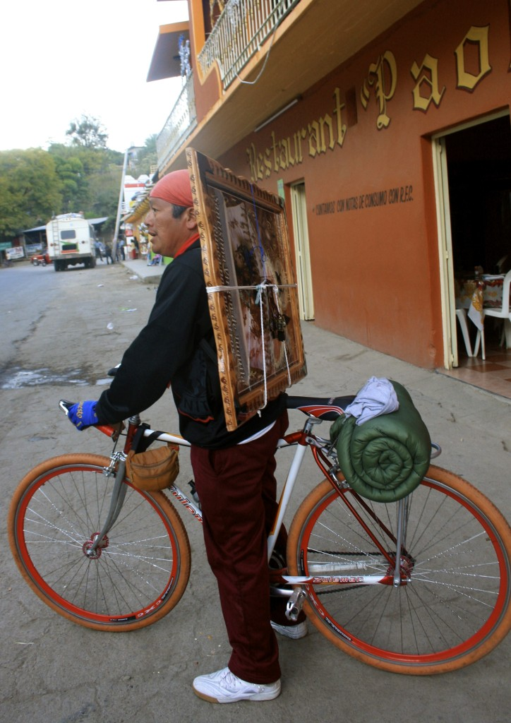 Cycling pilgrim outside one of the hotels where I stayed.