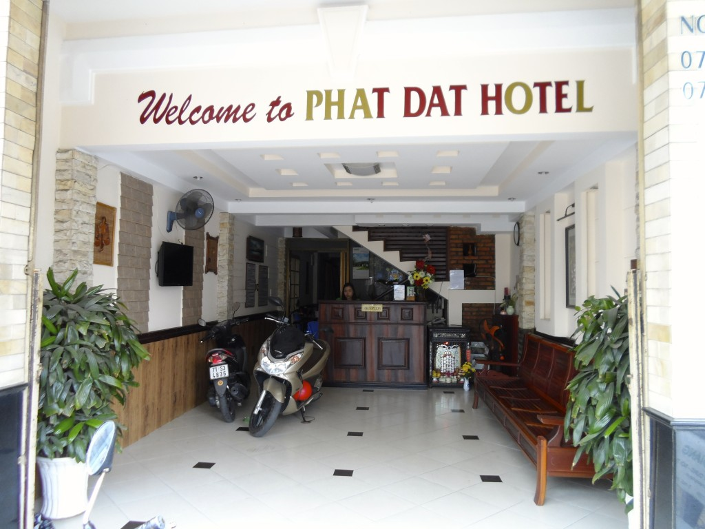The entrance to a typical vietnamese budget hotel.