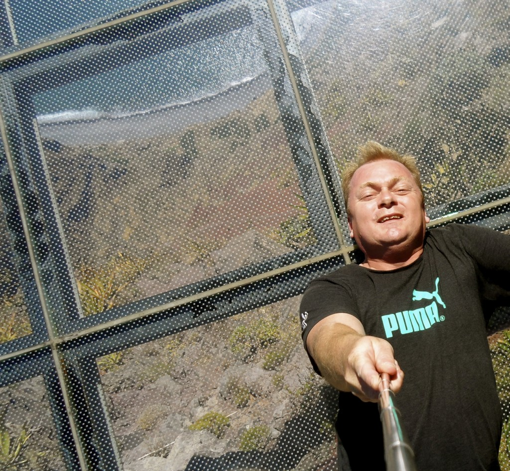 Selfie stick photo on the glass platform, before the crowds arrive.