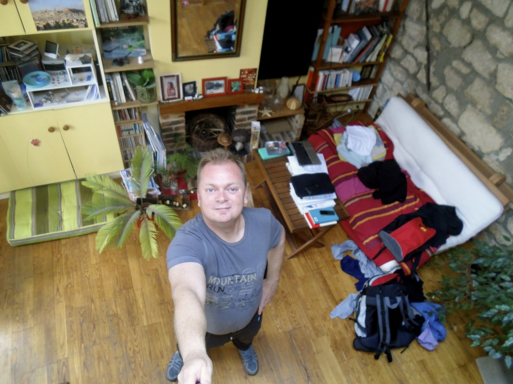 Selfie stick photo from above.