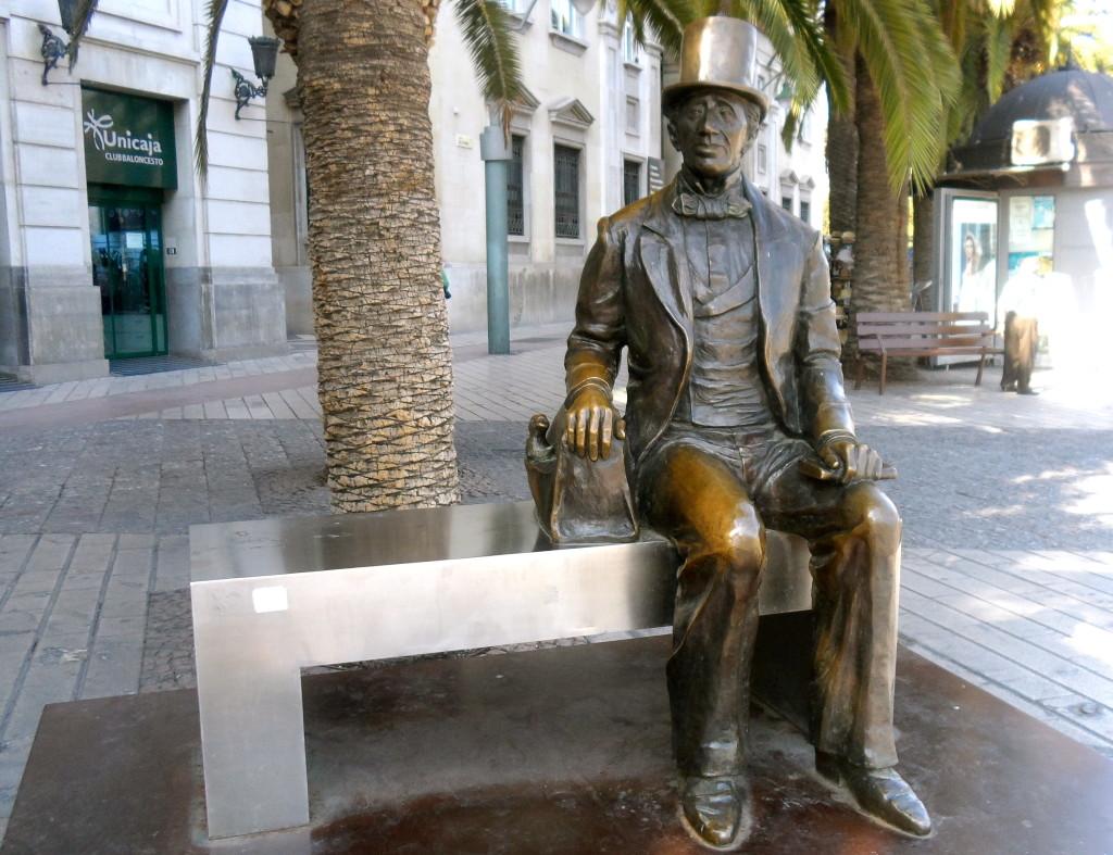 Hans Christian Andersen statue in Malaga.