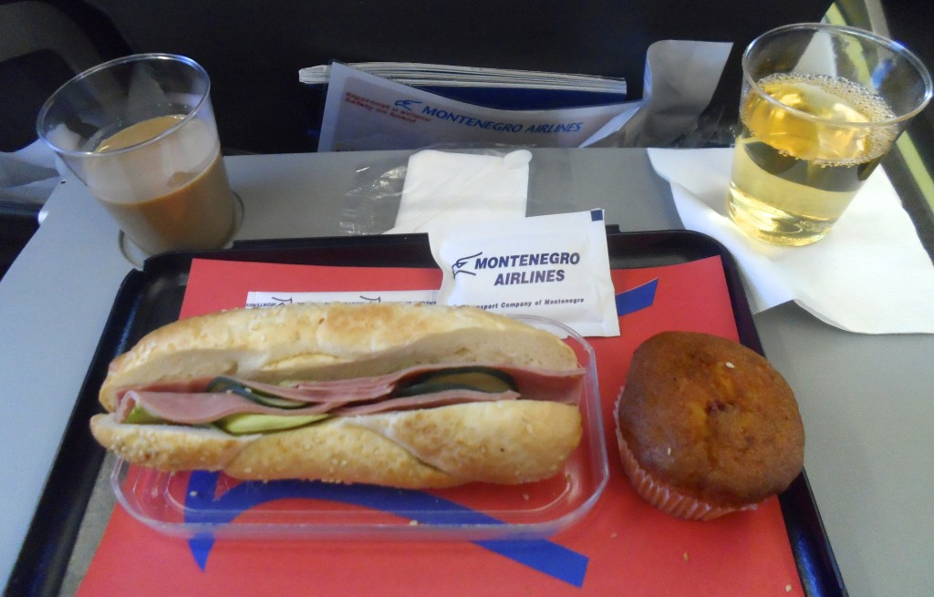 My food and drinks on Montenegro Airlines.
