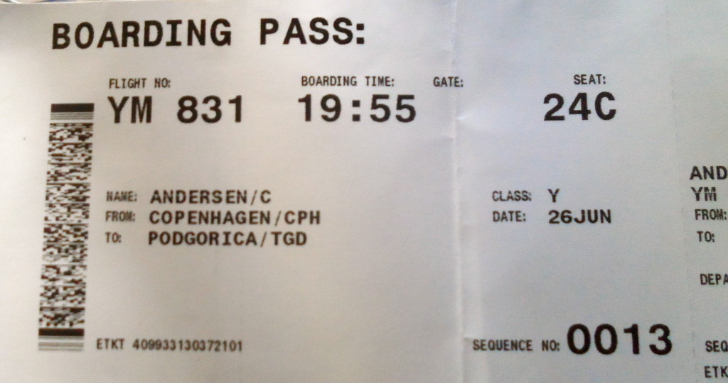 My boarding pass for Montenegro Airlines.