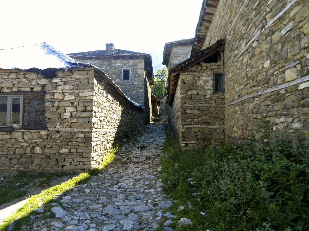 Hiking through a small albanian village.