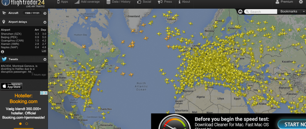 Flightradar24 showing a map of planes in the air right now.