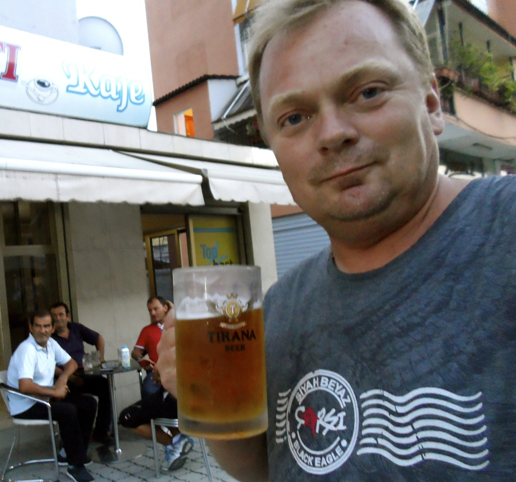 Having a beer in Elbasan.