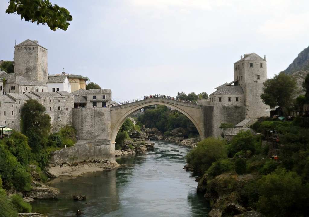 The rebuild bridge, connecting east and west Mostar.