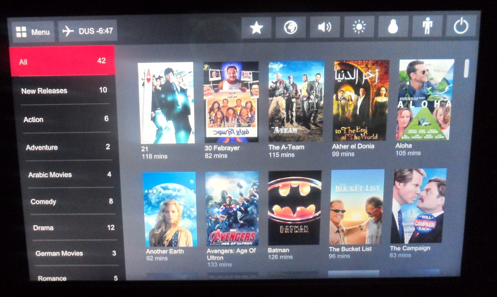 Good entertainment system at the Air Berlin planes.