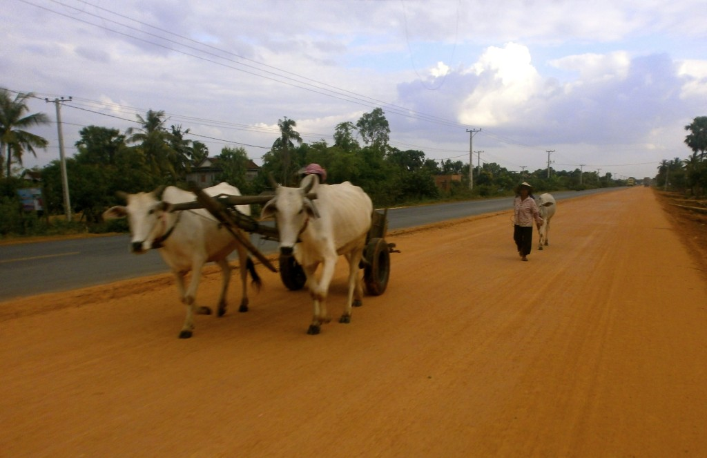 Flat roads in Cambodia.