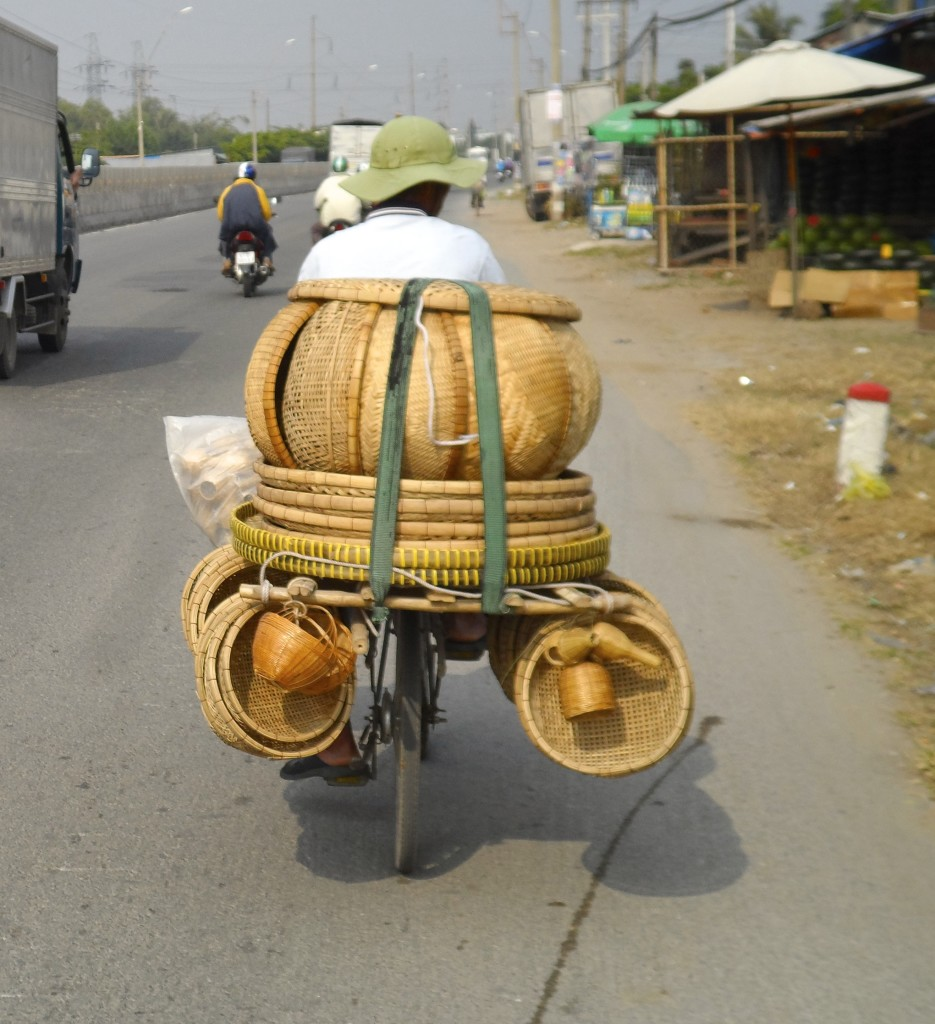 Baskets on a scooter in Vietnam.