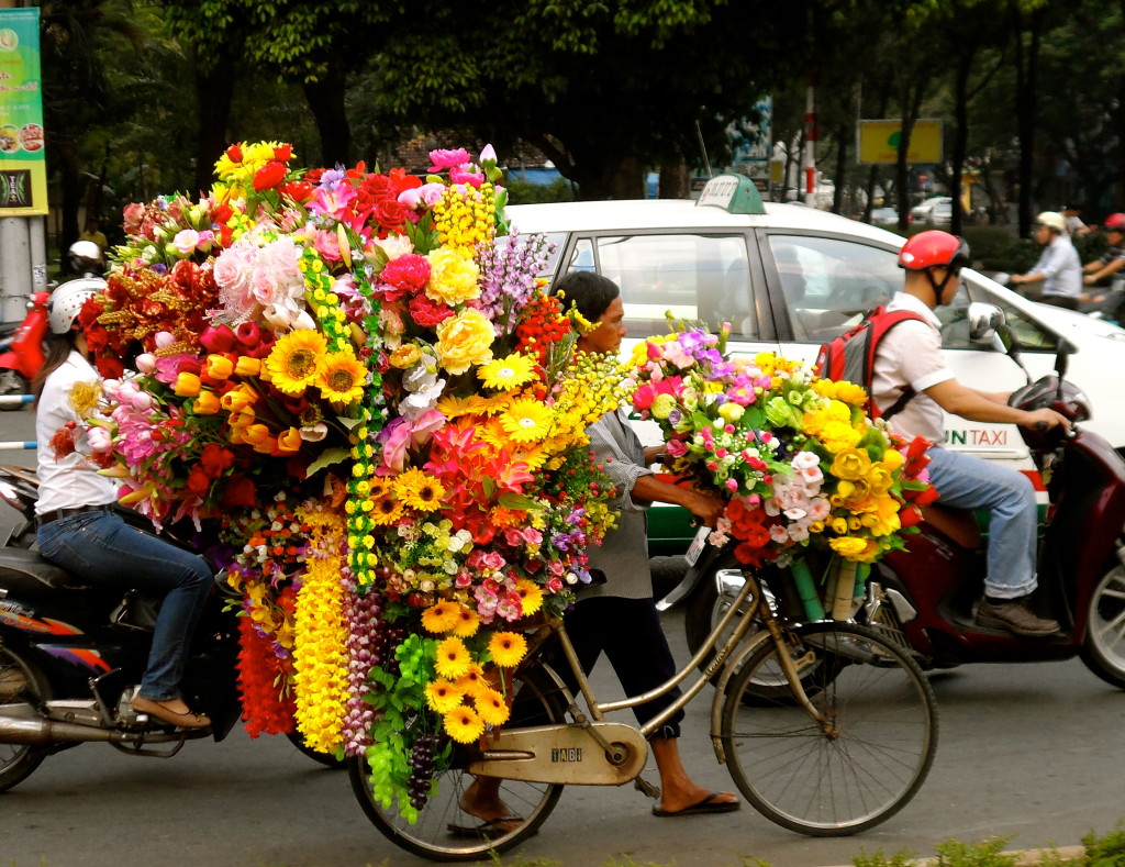 Cycling flower shop in Vietnam.