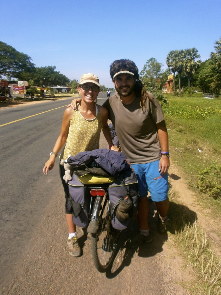 A greek girl and a spanish guy, cycling through Cambodia.