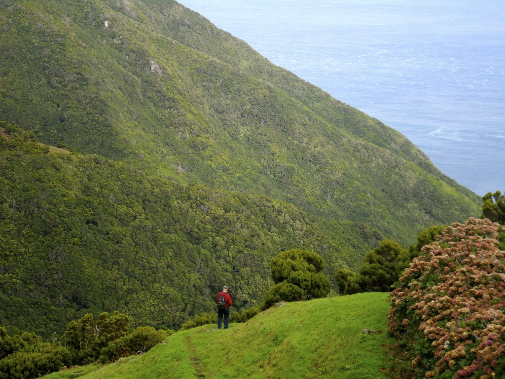 Hiking on Sao Jorge Island on the Azores.