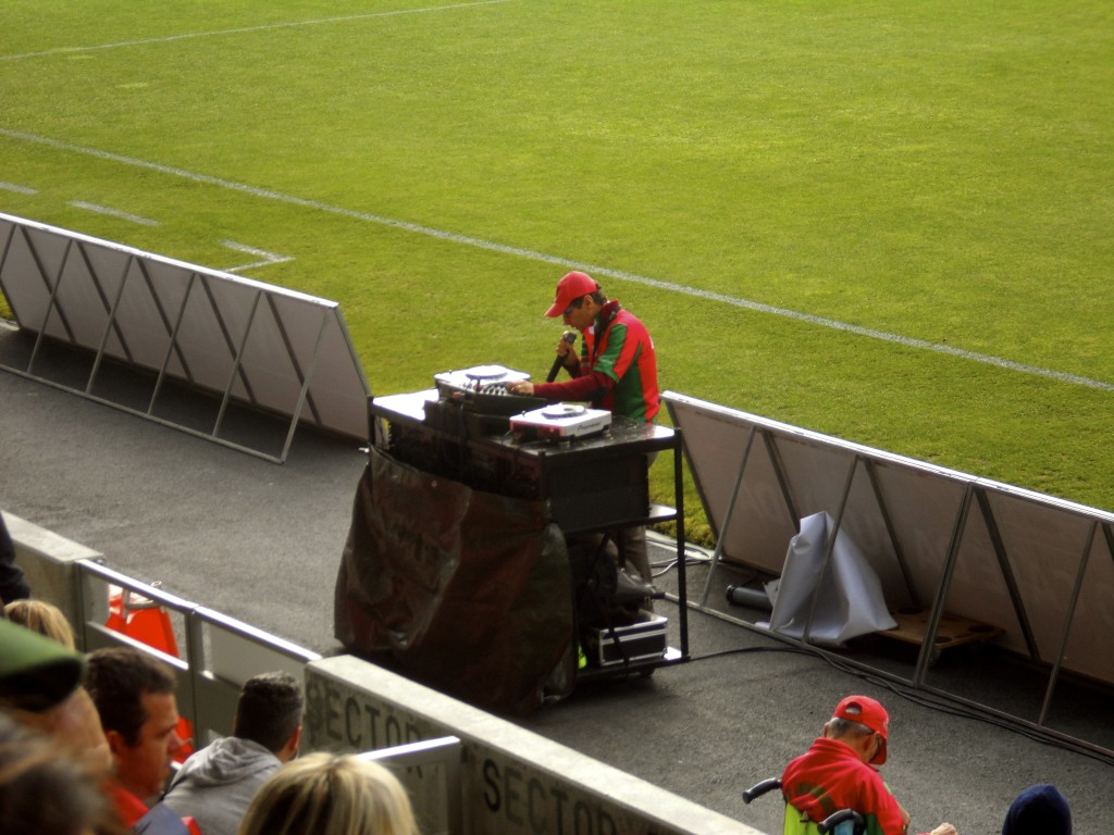 The stadium DJ doing his job.