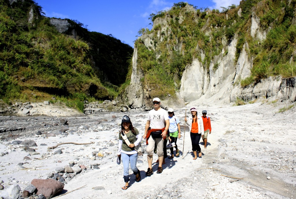 Hiking the Pinatubo volcano in the Philippines.