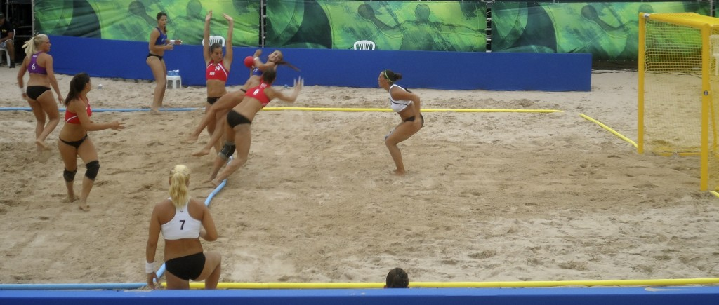 I was happy to be a volunteer at the beach handball world cup in Brazil.