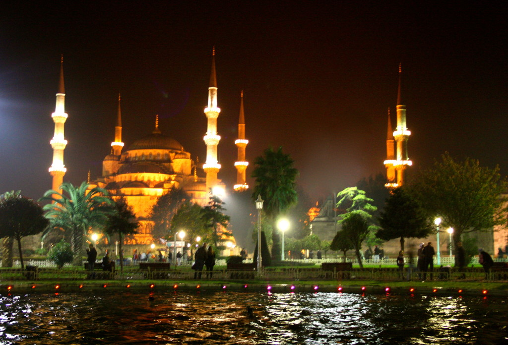 The blue mosque by night.
