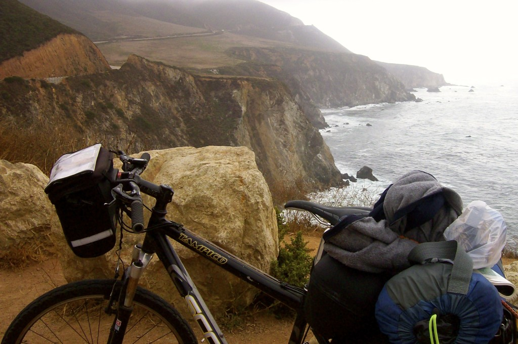 cycling past Big Sur in California.