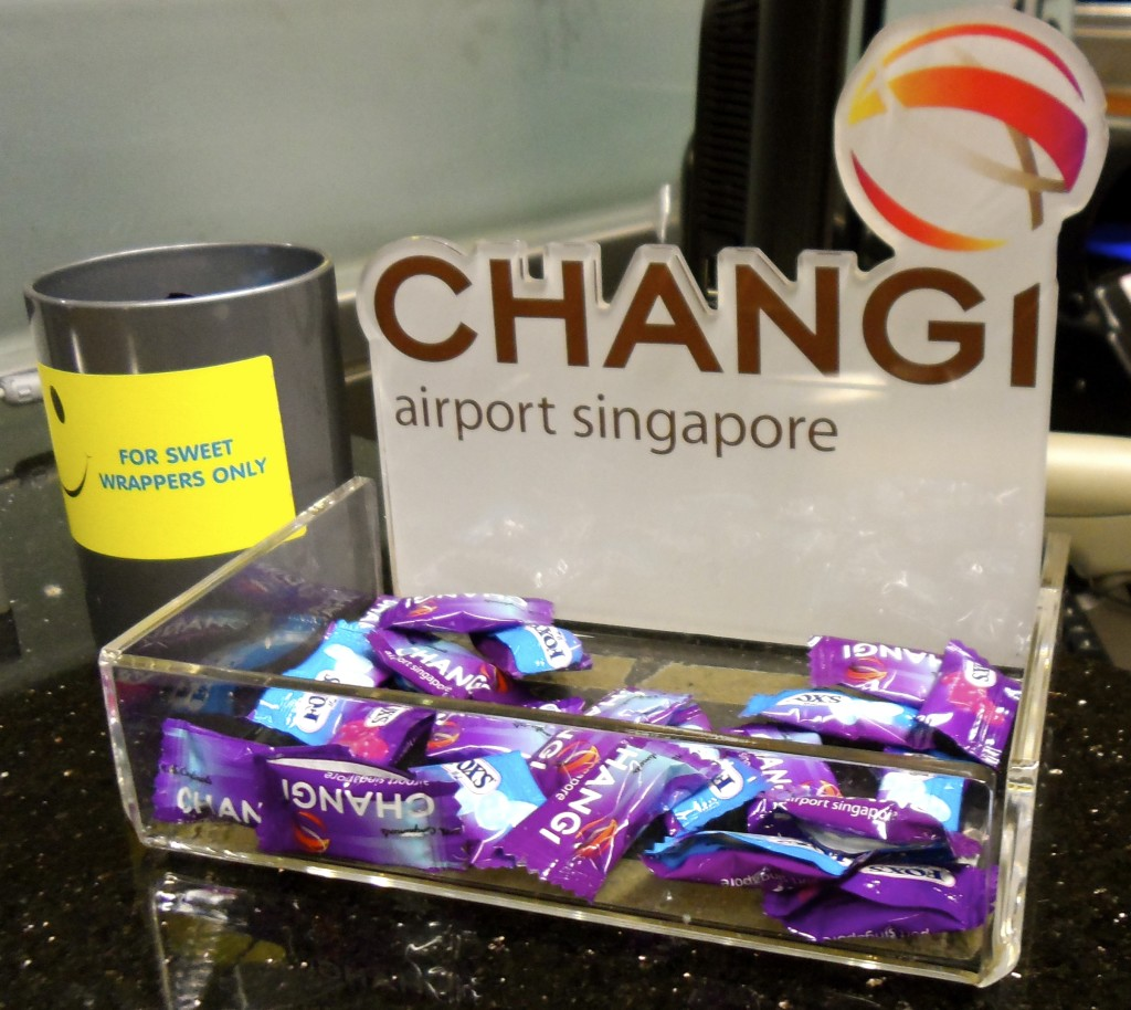 You get free candy when you arrive to Singapore Airport.