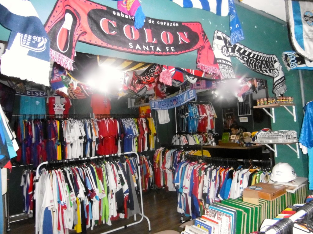 Hundreds of second hand football shirts for sale.