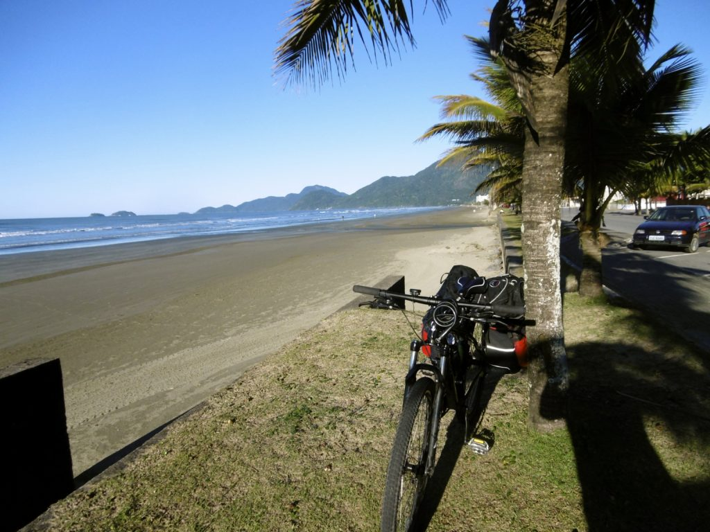 Cycling along the coastline of the Sao Paulo state.