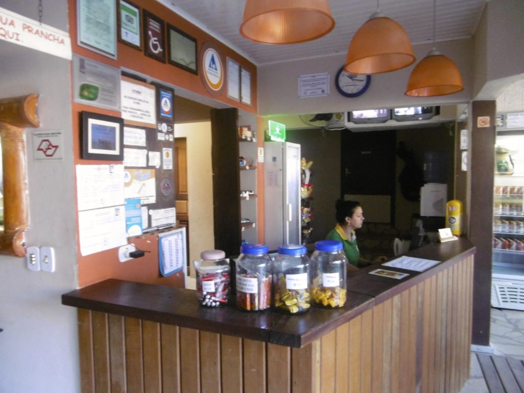 The reception area at the Maresia hostel.