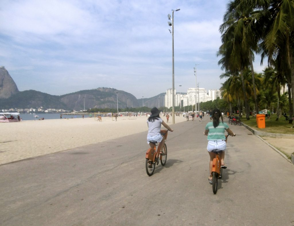 Cycling along Flamengo beach.