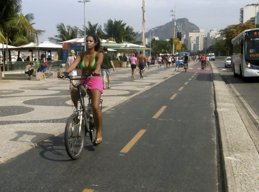 Cycling at Copacabana.
