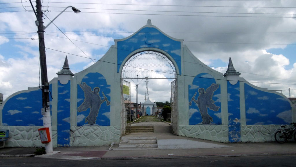 The entrance to the local cemetery in Sao Mateus.