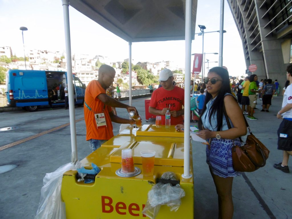 Beer vendors inside the stadium.