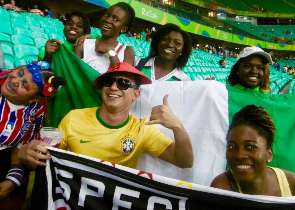 Everybody loved the Nigerian girls at the stadium.