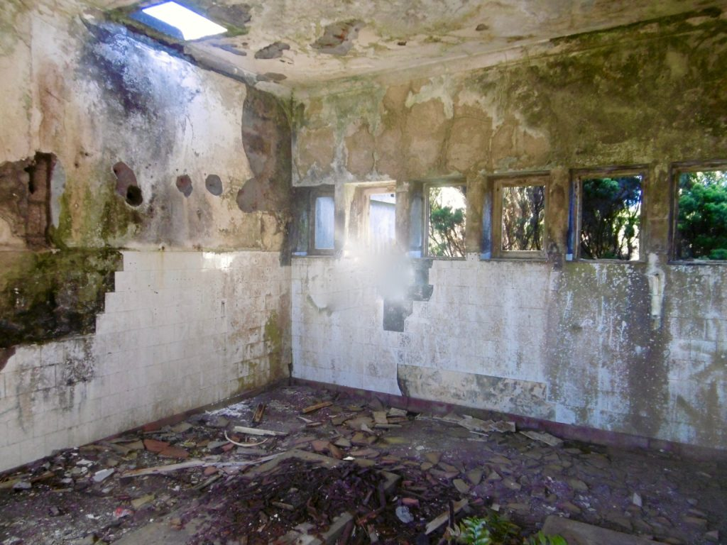 Inside the abandoned lighthouse buildings at Ponta dos Rosais.