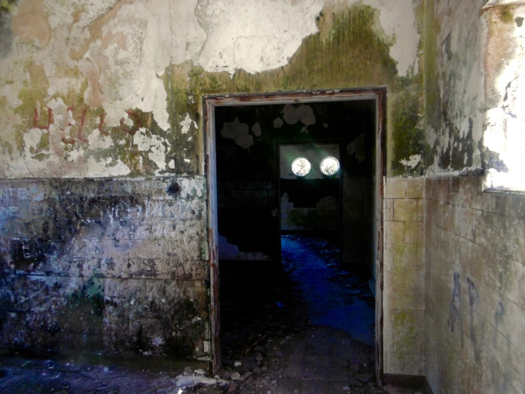 Inside the abandoned lighthouse buildings.
