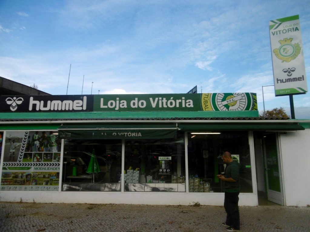 The fan shop at the stadium in Setubal.