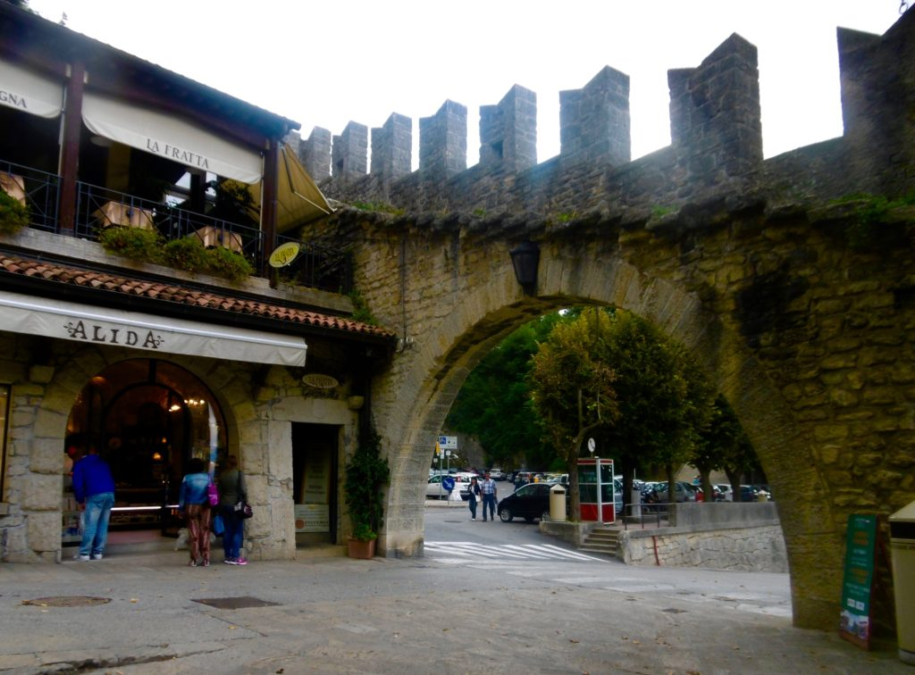 Old city walls in San Marino.