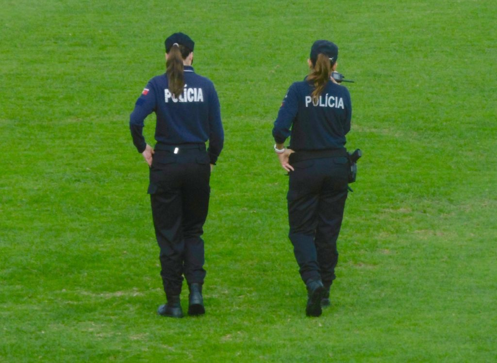 Nice police girls at the football stadium in Setubal.