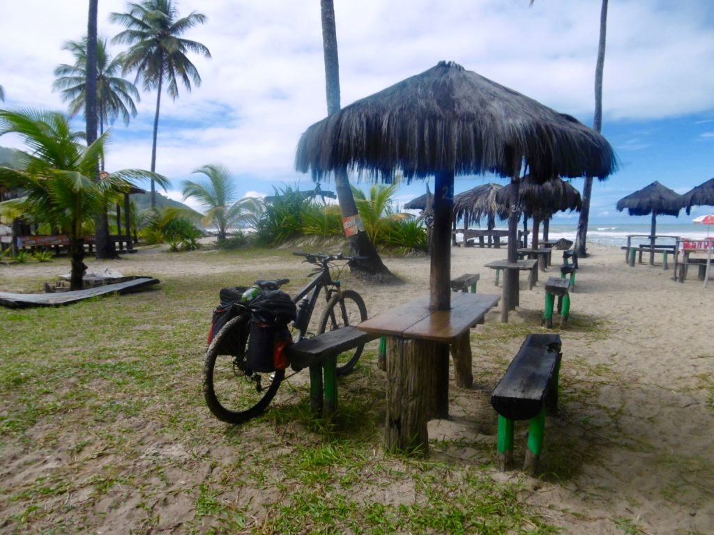 My Brazilian tour bike on a beach in Bahia.